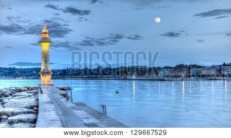Lighthouse at the Paquis by night, Geneva, Switzerland, HDR