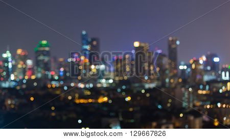 Blurred bokeh city downtown lights night view