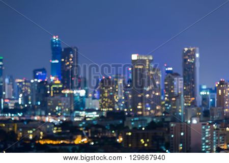 Twilight, abstract blurred bokeh office building lights night view
