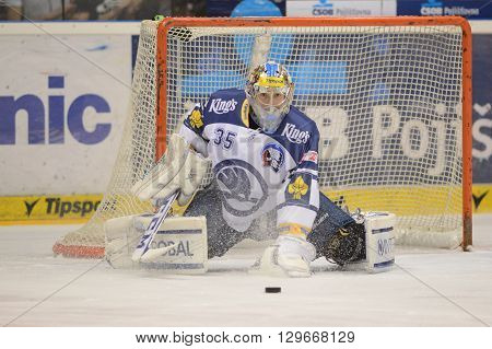 Pardubice 16/01/2015 _ Goalkeeper Matej Machovsky _ 38.round of highest Czech ice hockey league between HC CSOB Pojistovna Pardubice and HC Skoda Plzen