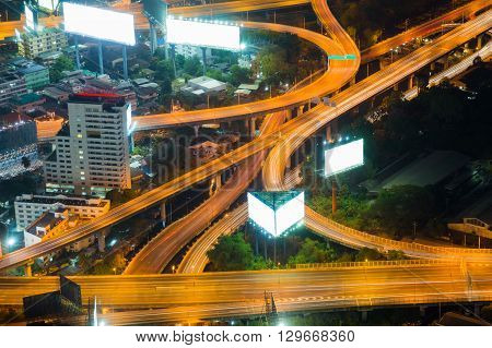 Top view highway interchanged, long exposure night view