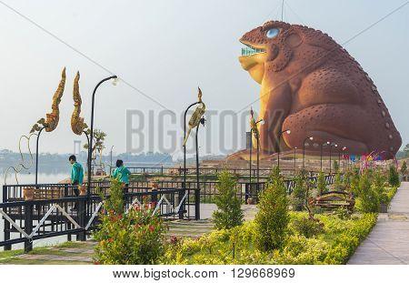Yasothon Thailand - February 22 2016 : Statue of Phaya Kan Kark (or Toad King) in Yasothon Thailand.