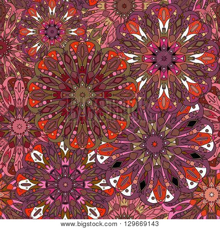 Vintage decorative pattern. Islam Arabic Indian ottoman motifs. Can be used for greeting card or booklet background printing on fabric or paper. Maroon burgundy vinous and purple colors