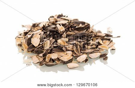 Husk sunflower seeds isolated on white background