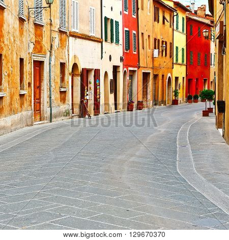 Historical Center with Old Buildings in Italian Medieval City
