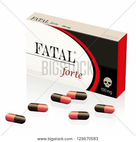 Fatal, lethal, deadly pills, symbolized by a fake medicine packet named FATAL FORTE with a skull as brand logo on it. Isolated vector illustration on white background.