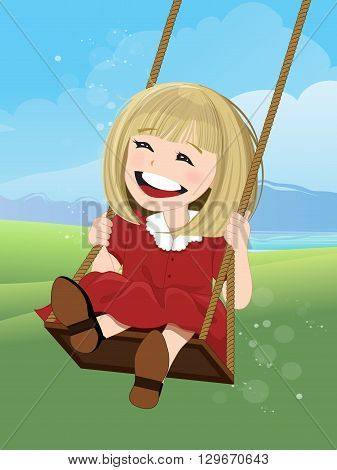 Jovial girl on a swing with happy face, illustration