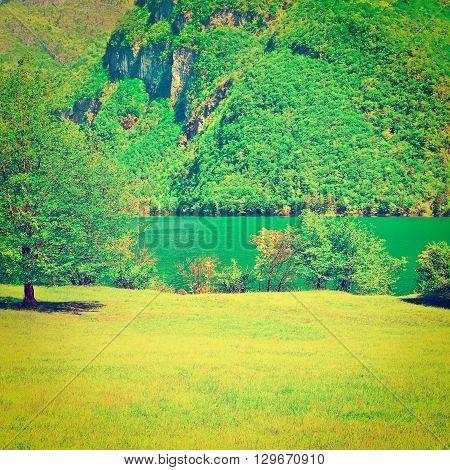 Lake Lago del Mis in the Italian Dolomites Retro Effect