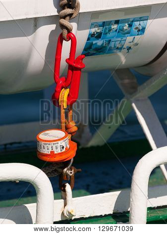 Hydrostatic release mechanism unit for liferaft with expiry date.