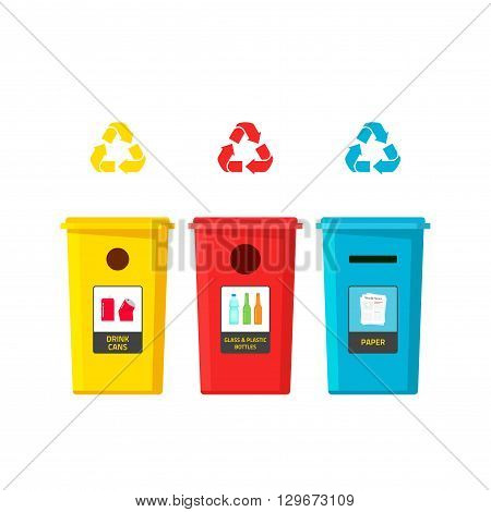 Recycling bins vector illustration isolated on white background, recycle bin for different waste type, trash sorting boxes, flat cartoon garbage cans with glass, plastic bottles, cans, paper stickers