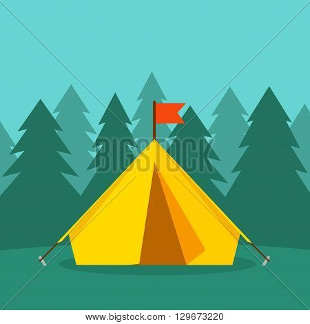 Camping tourist tent on forest landscape vector illustration, forest camping concept, hiking, tourism, journey flat cartoon, forest camp image, tourist tent design