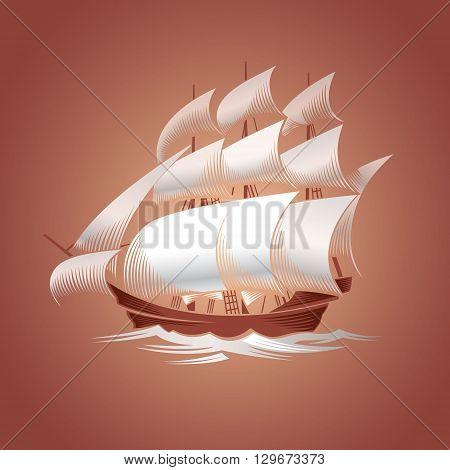 Old vessel. Sailing ship. Vector illustration on brown background