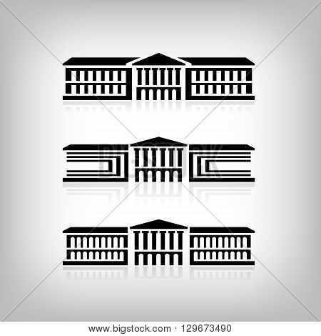 Set of 3 logos of buildings with columns. Vector Eps 10