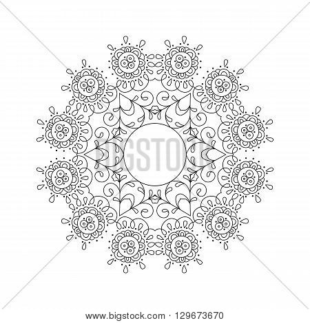 Delicate Abstract Background With Round Ornament Isolated On White Background.