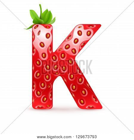 Letter K in strawberry style with green leaves