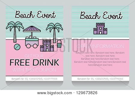 Trendy minimalistic icon style outdoor beach event themed discount coupon advertising flyer gift voucher customizable template. Replace text add your logo to customize template.