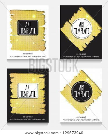 Modern eclectic flyer poster card template with golden background. Vintage dotted shadows glamourous shiny golden caged background minimalistic framing and casual text.