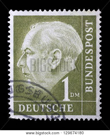 ZAGREB, CROATIA - JUNE 25: a stamp printed in the Germany shows Theodor Heuss, 1st President of the Federal Republic of Germany, 1949-1959, circa 1954, on June 25, 2014, Zagreb, Croatia