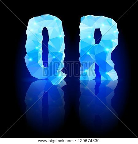 Shiny blue polygonal font. Crystal style Q and R letters with reflection on black backround