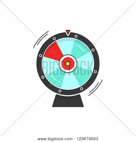Wheel of fortune spinning vector icon illustration isolated on white background, flat cartoon design
