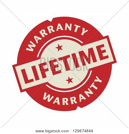 Stamp or label with the text Lifetime Warranty, vector illustration