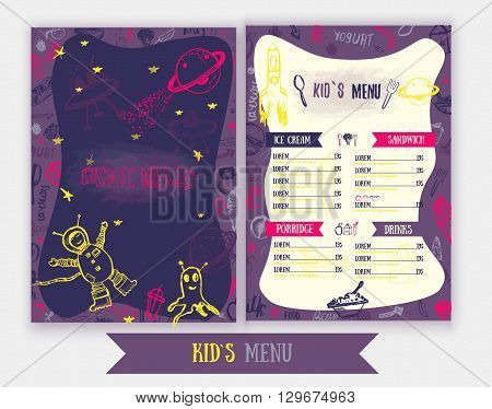 Cosmic meals Kids menu. Cute colorful hand drawn vector template. Design for party, cafe with monsters, astronaut