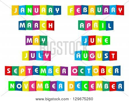 Month paper text on a white background.