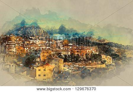 Sella village old village in Spain. Alicante province. Digital watercolor painting