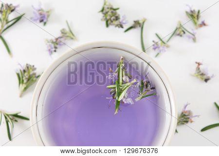 Rosemary Tea With Fresh Rosemary Flowers