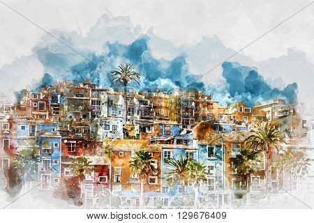 Digital watercolor painting of Villajoyosa town Costa Blanca. Province of Alicante Valencian Community Spain