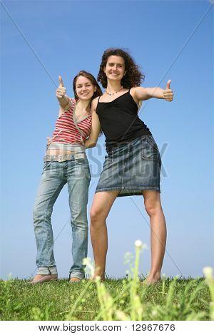 Two girlfriends beside