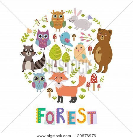 Forest circle shape background with cute fox, owls, bear, birds and raccoon. Vector illustration