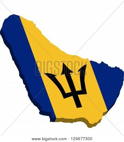A map of Barbados 3D with flag on white background
