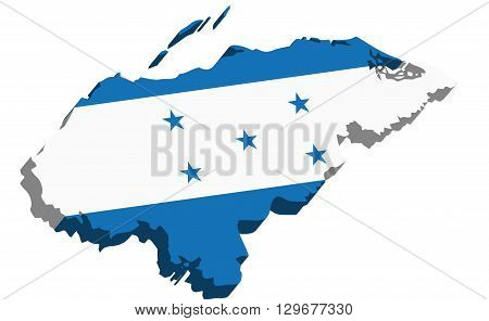 A map of Honduras 3D with flag on white background