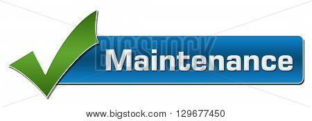 Maintenance text with green tickmark over blue background.
