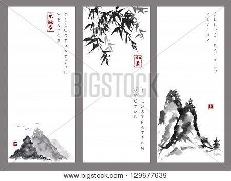 Three banners with mountains and bamboo in traditional Japanese ink painting sumi-e style. Contains hieroglyphs - happiness, dreams come true, eternity, freedom