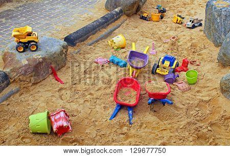 A public artwork also functions as a children's sandbox.