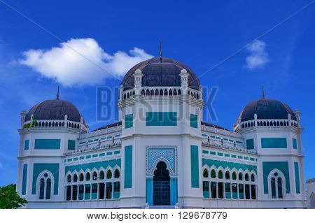 Great Mosque of Medan, Sumatra, Indonesia, Southeast Asia. Built in 1906.