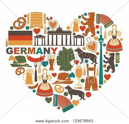 Traditional symbols of culture, architecture and cuisine of Germany in heart shape