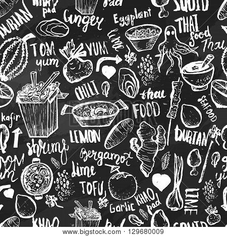 Thai food seamless hand drawn rough pattern. Thai sketches. Vector isolated on white background for cafe menu, banners, chalkboards.