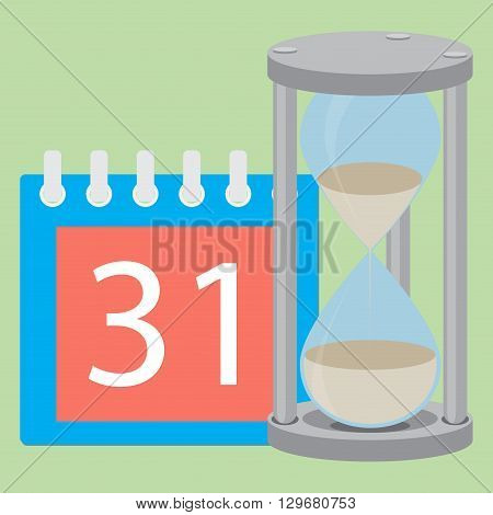 Deadline concept calendar or calendar deadline time hourglass and time running out due date business management. Vector flat design illustration