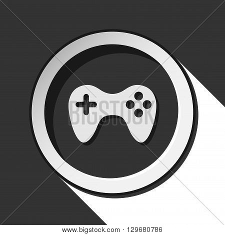 black icon - game pad with white stylized shadow