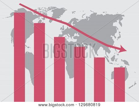 World crisis chart. Crisis business graph market and stock money world finance. Vector flat design illustration