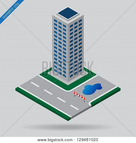 isometric city - dotted line road junction detour sign board puddle and skyscraper