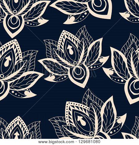 Vector abstract seamless pattern with lotus flowers. Abstract vector background with flowers. Lotus mandala. Vector Indian hand drawn lotus.
