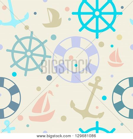 Seamless pattern on the theme of the sea. Steering wheel boat life preserver anchor.