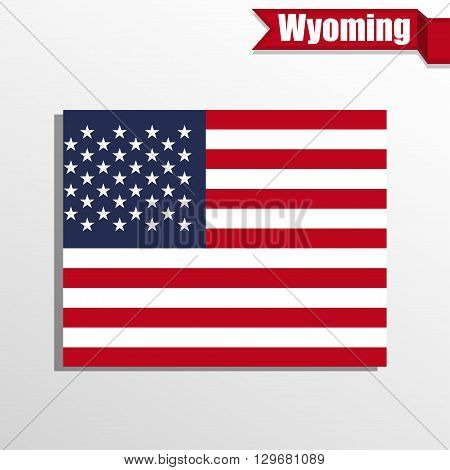 Wyoming State map with US flag inside and ribbon