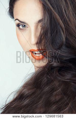 Beautiful lady with perfect makeup. Studio shot