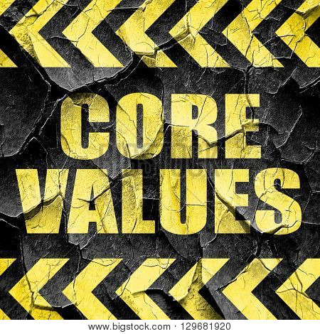 core values, black and yellow rough hazard stripes