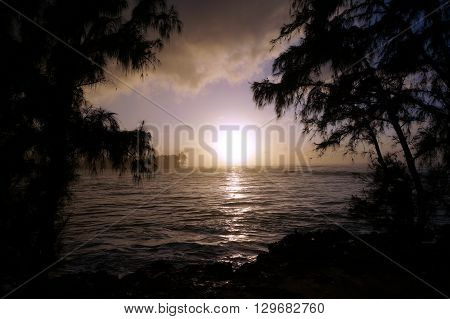 Sunset over the ocean seen through the trees with waves moving to shore on the North Shore of Oahu.